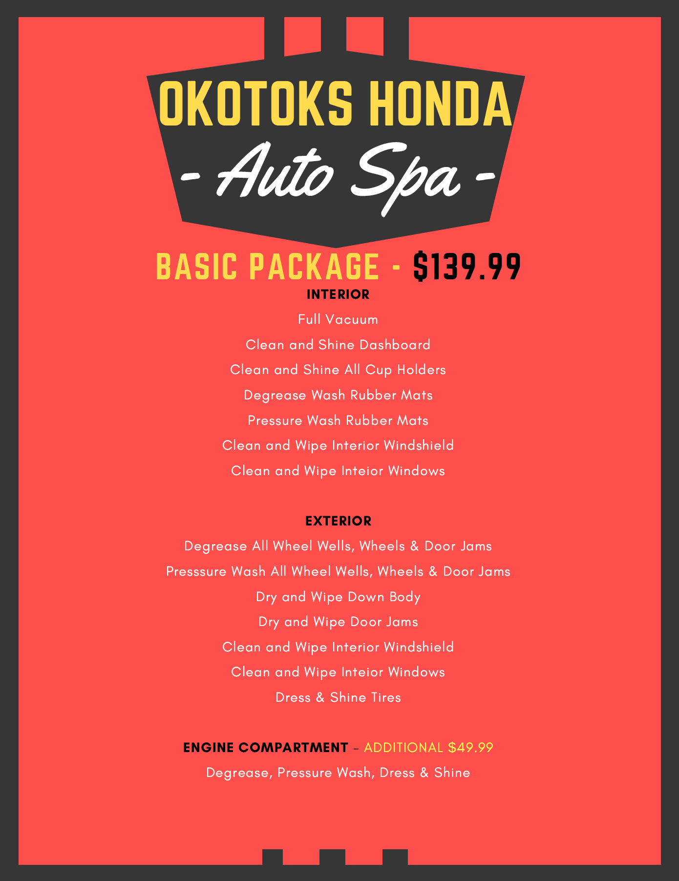 Okotoks Honda Auto Spa Basic Package in Okotoks, South Calgary